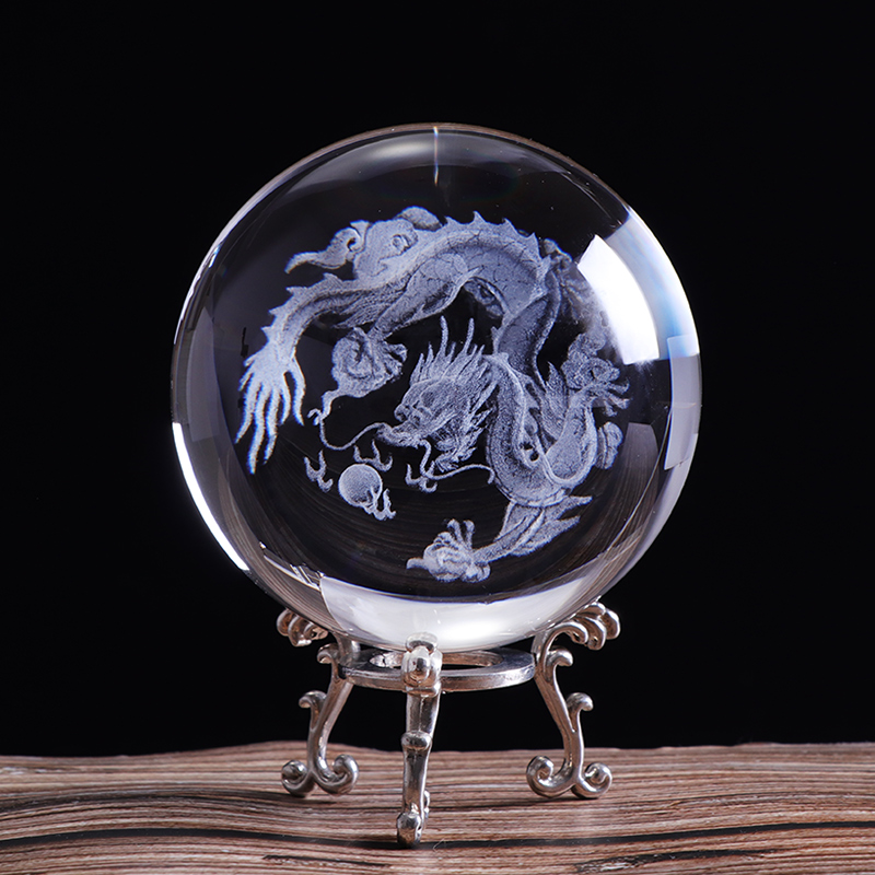 60mm/80mm 3D Crystal Dragon Ball Miniature Figurine Sphere Laser Engraved Crystal Craft Globe Home Decoration Ornament Gift