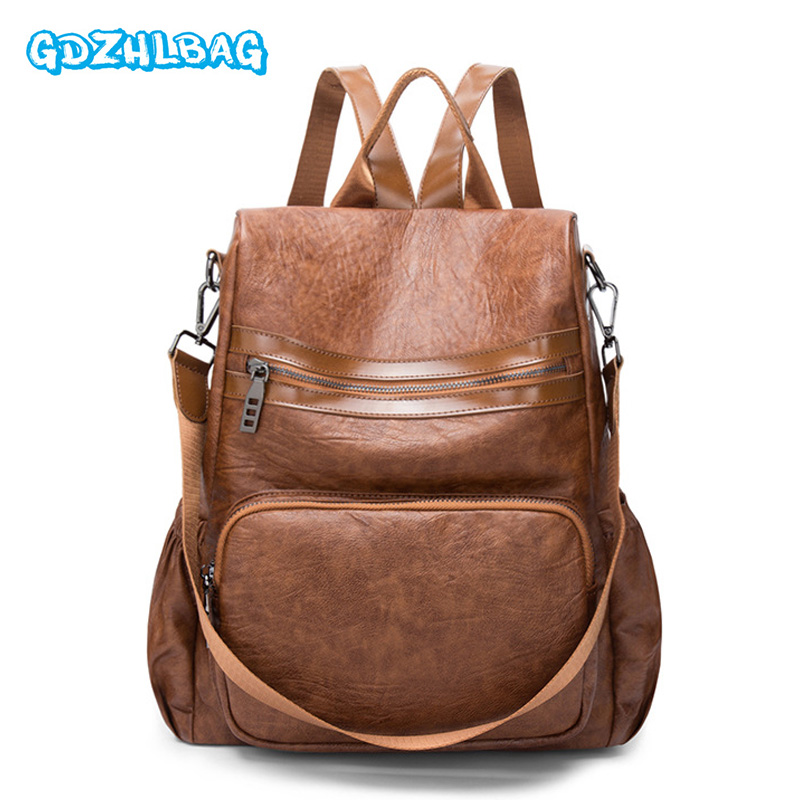 цена на 2018 Women School Leather Backpack Mochila Vintage Teenage Backpacks for Girls Sac A Dos Femme Casual Soft Travel Bags New B245