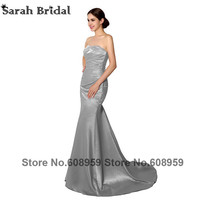 2014 New Arrival Silver Long Prom Gown With Train Strappless Pleat Crystal Sexy Mermaid Beaded Long