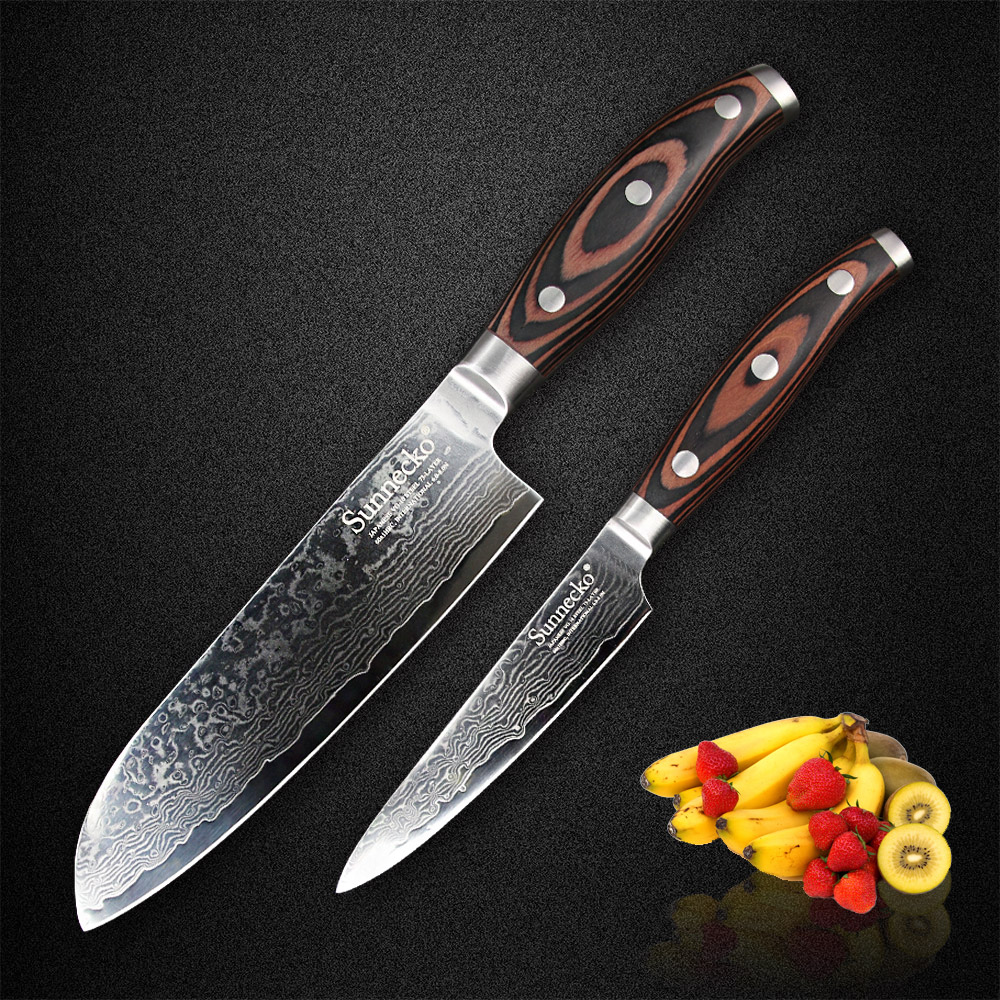 SUNNECKO 2PCS Kitchen Knife Set 73 Layers Damascus Steel 7 Santoku 5 Utility Sharp Knife Pakka