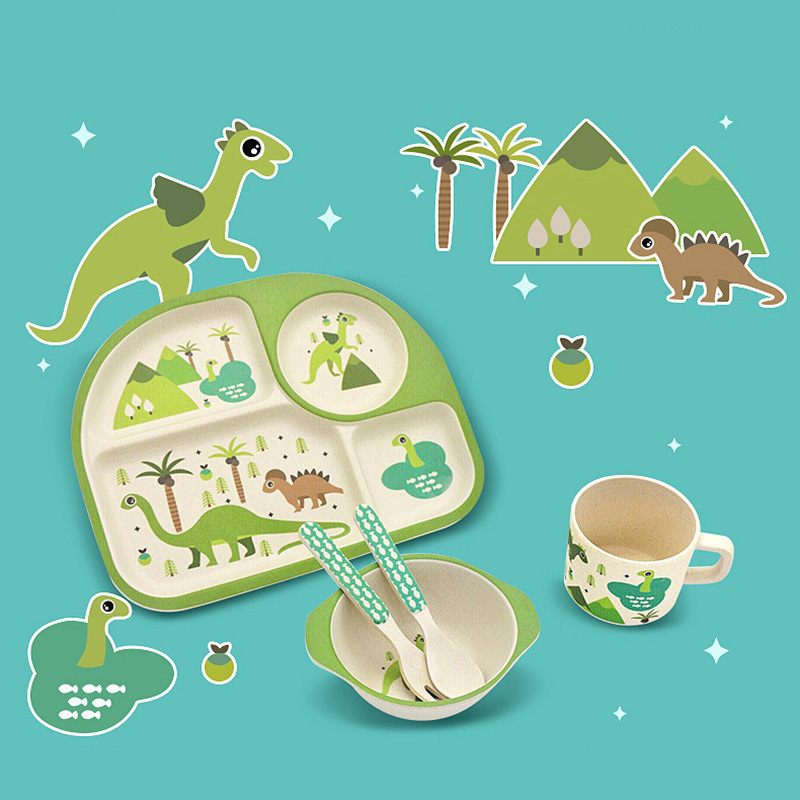 5Pcs/set Cartoon Baby Tableware Eco-friendly Bamboo Fiber Children Separation Plate Bowl Fork Spoon Cup Set Dinnerware NBB0318
