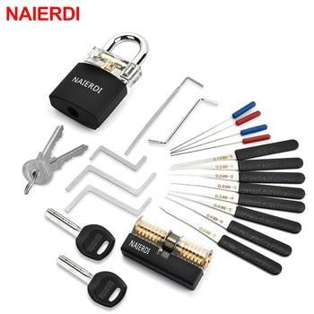 NAIERDI Locksmith Supplies Hand Tools with Practice Lock Pick Set Tension Wrench Broken Key Tool Combination Padlock Hardware
