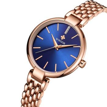 51ad857d5990 WWOOR oro rosa reloj de cuarzo relojes Top marca CRISTAL de lujo mujer reloj  chica Relogio Feminino azul