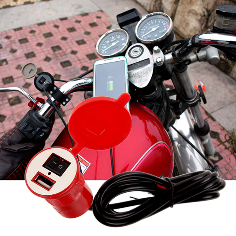 12V/24V Waterproof Motorcycle USB Power Charger Socket Adapter with Safety Switch for <font><b>Mobile</b></font> <font><b>Phone</b></font> Moto Accessories