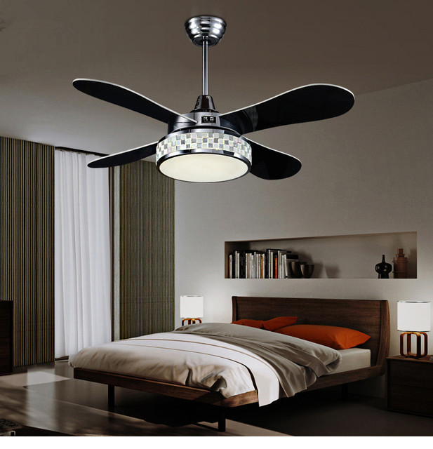 42 Inch Four Colour Changing And Mosaic Shape Lamp Shade Ceiling Fan Light