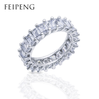 FeiPeng New Hot Gifts 0.1ct Round Simulated Circle Wedding Eternity Rings Bands Jewelry for Women