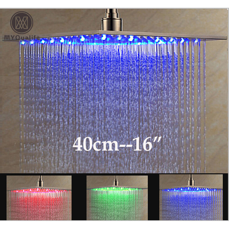 Luxury Brushed Nickel LED 16 Rainfall Shower Head Stainless Steel Square Color Changing Lights Showerhead free shipping stainless steel chrome or black or brushed nickel sliding bar hand shower holder shower head holder sl155