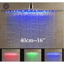 Роскошные Матовый Никель LED 16 «осадков Насадки для душа Нержавеющаясталь квадратный Цвет Изменение душ
