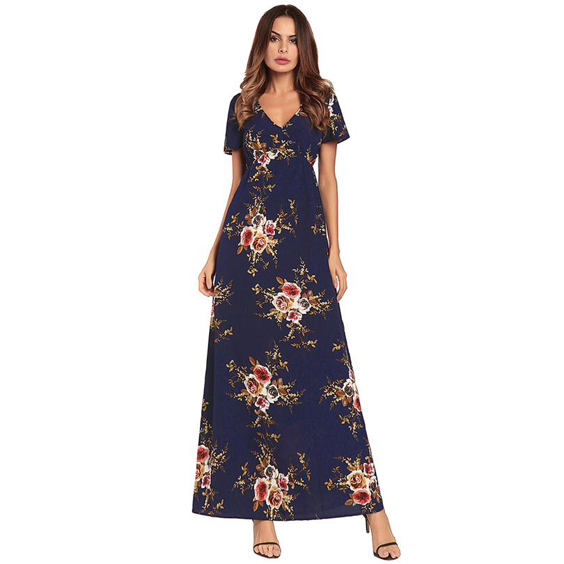 0a9f8ddab37 Free Shipping! Newest Beautiful Graceful Colourful Flower Print Sexy V Neck  Lady Summer Maxi Dress-in Dresses from Women s Clothing on Aliexpress.com  ...
