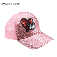 2019 New Childrens Sequins Ear Hats Kids Snapback Mesh Baseball Cap Funny Spring Summer Hip Hop Boy girl Caps