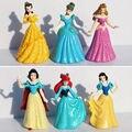 6 pçs/set Princesa Ariel Cinderela Branca de Neve Brinquedos Q Versão PVC Action Figure Modelo Boneca Para Crianças Presente Da Menina # E