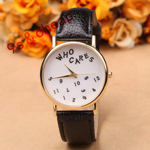 New Style Fashion Watches Women WHO CARES Letter Printed Casual PU Leather Watch Analog Quartz Wrist Watch relojes mujer #250717