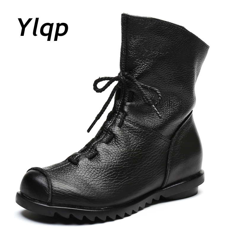 2018 Primavera New Design de Moda Couro Genuíno Das Mulheres Botas Mulheres Sapatos Feitos À Mão Do Vintage Ankle Boots Botas de Salto Plana Femininos