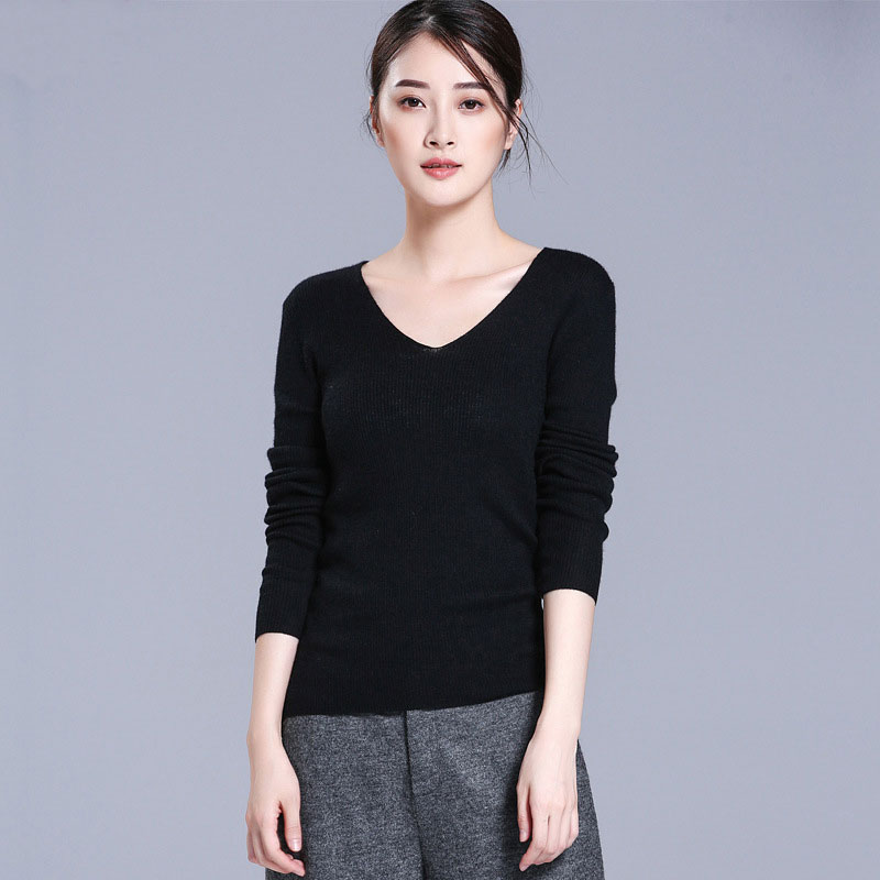 Kashana 2019 Newest 100 Cashmere Sweaters Women V neck Long Sleeve Pullovers Ladies Tops Solid Color