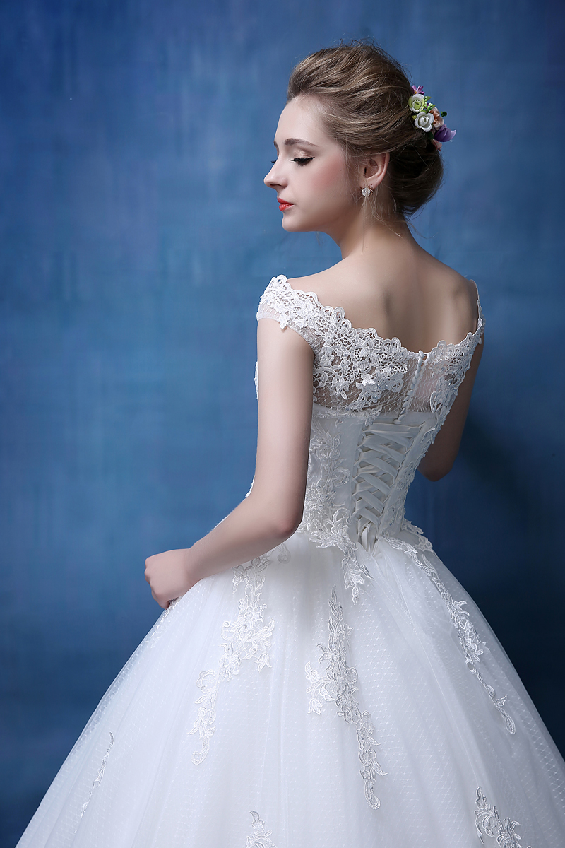 Bridal Lace Tulle A Line Bröllopsklänningar Ärmlös - Bröllopsklänningar - Foto 3