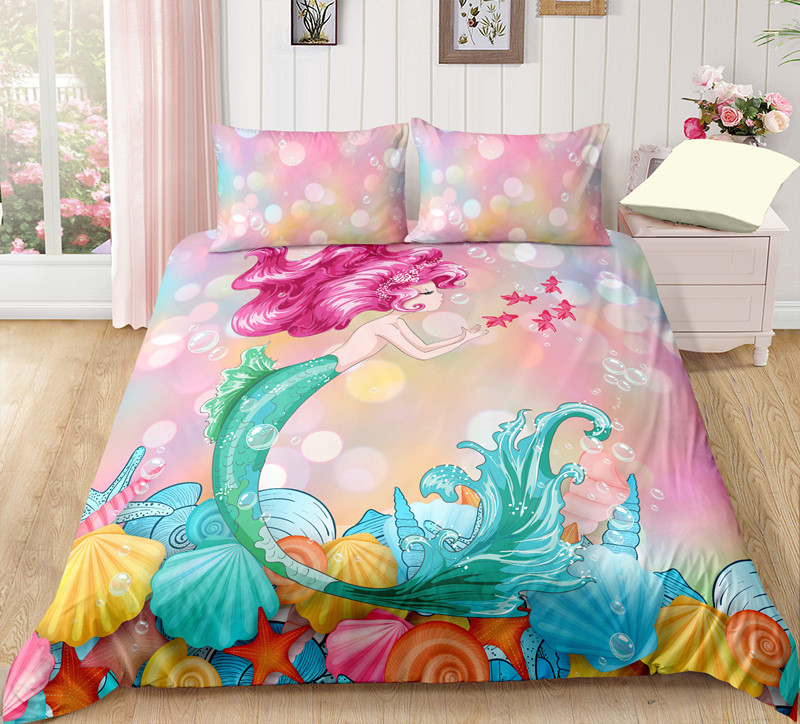 Fanaijia 3d Kids Pink Little Mermaid Bedding Sets Duvet Cover With Pillowcase Comforter Bed Set Girl's Gift