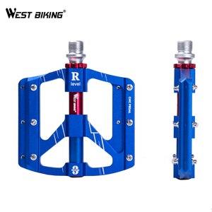 Image 2 - WEST BIKING 3 베어링 자전거 페달 초경량 Anti slip CNC 도로 MTB 자전거 페달 사이클링 밀폐형 베어링 자전거 페달