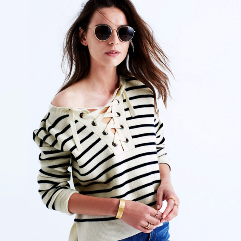 New Brand Pullover O-neck Long Sleeve Knitwear Stylish Knit Women Black and White Striped Sweater Loose Bet Tops Plus Size ZA353