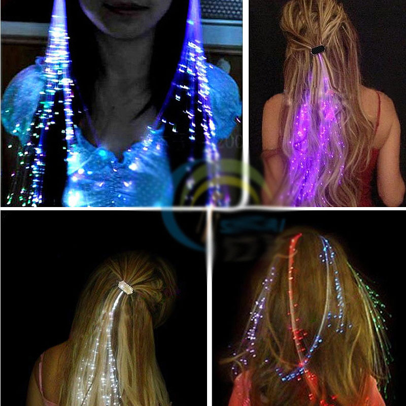5Pcs/set Colorful LED Flashing Glow Filaments Luminous Clip Braid For Party Ball Concert Clubs Home Coming Novelty Lighting