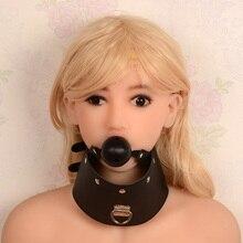 Чучело рот Gap Вилки Ошейники ведомого повязки Секс-игрушки продукты Игры для взрослых для женщин Цепочки и ожерелья рот Gap Leather рот мяч