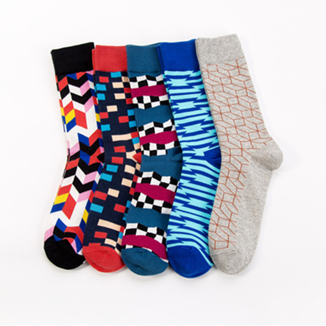 PEONFLY Men Fashion Printed Stripe Square Geometry Pattern Colorful Happy Socks Autumn Winter Soft Ventilation Cotton Socks Male