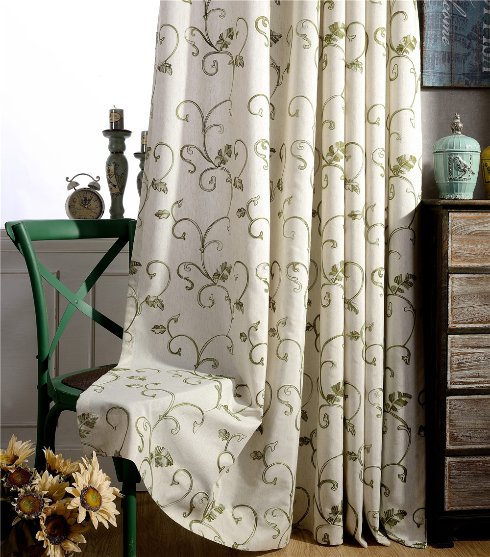 Leaves Embroidered Curtains Grommet Top Green Curtains Decoration Home  Pastoral Window Curtain Living Room B16198(Color Of 2)