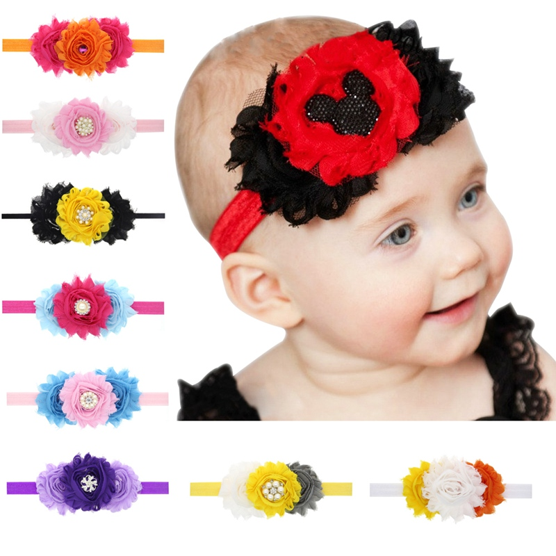 56ad2b69a1af 12pcs lot halloween hair bows with Ruffled FOE Elastic Kids Girl Headbands  Party Decoration for girls hair accessories