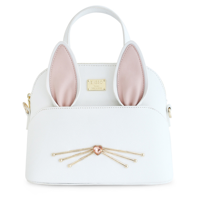 2017 White New Lolita Korean PU Cute Lady Animal Rabbit Ears Mini Diamonds Women's Crossbody Totes Solid  Shell Shoulder Bags