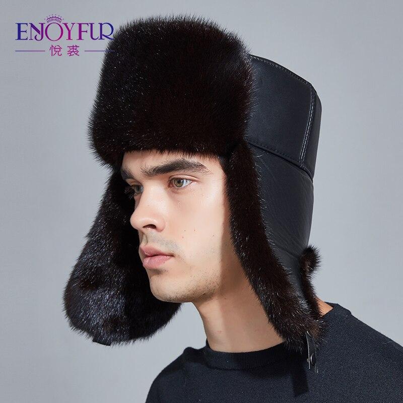ENJOYFUR homens verdadeira pele de vison chapéus de pele chapéu do inverno earflap proteger orelha quente o suficiente russo ushanka chapéu bombardeiro de Couro Genuíno