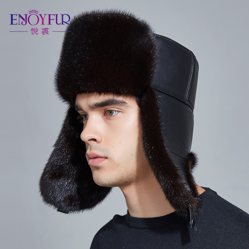 ENJOYFUR Winter Hat Earflap Men Real Mink Fur Hats Fur Protect Ear Warm Enough Russian Ushanka Genuine Leather Bomber Hat