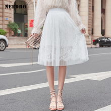 NEEDBO Pleated Skirt Midi Skinny Black White Tulle Skirts Women High Waist Party Casual Mesh Sexy Pleat