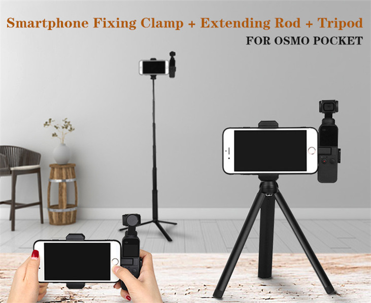 OSMO Pocket Smartphone Fixing Bracket Stand Clamp Extending Rod Tripod for DJI OSMO POCKET Gimbal Accessories 1