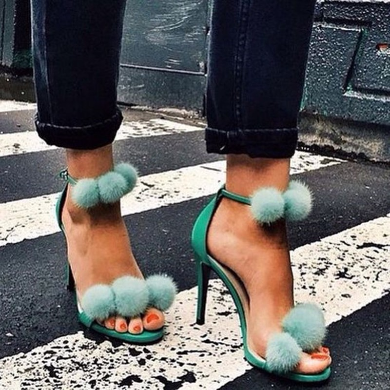 Sexy 2017 Turquoise Fur Decor Sandals Open Toe Ladies Pom Pom Gladiator Fur Sandal Sexy High Heels Ankle Strap Women Shoes