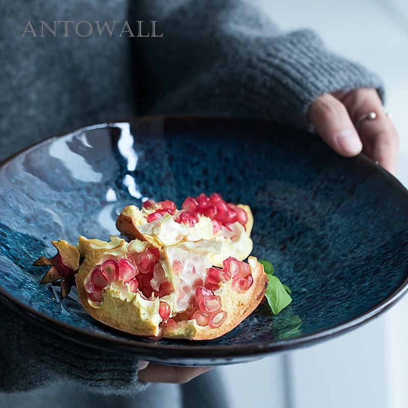 ANTOWALL Style européen DIM BLUE série bol à salade de fruits en céramique ménage grand bol à nouilles soupe