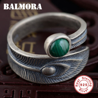 BALMORA 100 Real 925 Sterling Silver Jewelry Malachite Open Rings For Women Men High Quality Free
