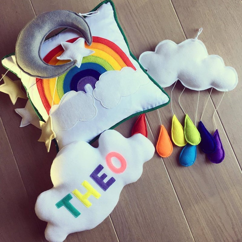 Ins Nordic Felt Cloud Rainbow Raindrop Pendant Kids Room Decoration Wall Hanging Ornaments Children 39 s Clothing Store Photo Props in Wind Chimes amp Hanging Decorations from Home amp Garden