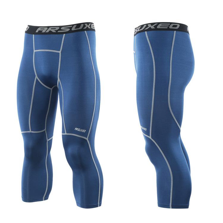 Meggings - leggings pour homme coupe 3/4 pantacourt de sport gym yoga bleu marine, vue latérale