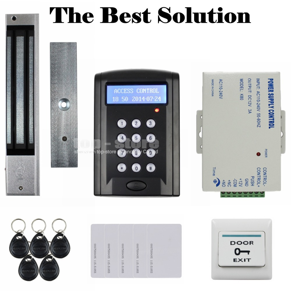 DIYSECUR Full Kit Set Magnetic Lock LCD 125KHz RFID Reader Password Keypad Access Control Door Lock System Kit Security System diysecur touch panel rfid reader password keypad door access control security system kit 180kg 350lb magnetic lock 8000 users