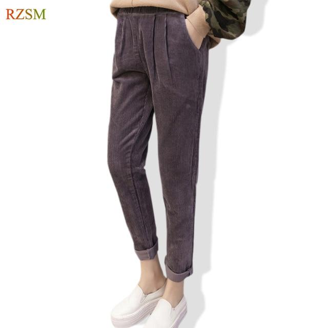 0ef8878d2ad85 2018 Spring Autumn Women Pant Corduroy Harem Pants Ladies Casual Trousers  Elastic Waist Full Pants Women Solid Pleated Hip Pants