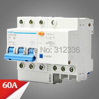 Free Shipping Two years Warranty DZ47LE 63 C60 3P 60A 3 pole ELCB RCD earth leakage