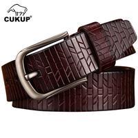 CUKUP Men Luxury Belts Designers Quality Brown Genuine Leather Man Belt Men's Simple Design Black Style Waist for Jeans NCK684
