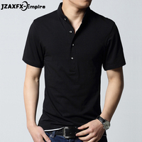 New Arrival Black Short Sleeve T Shirt Men Turn Down Collar Top Tees Slim Fit Solid