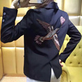 Europe 2016 new autumn birds diamond embroidery shawl collar short sleeved jacket female blazer