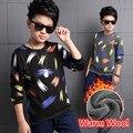 De Manga larga Marca Niños Mirco Terciopelo t-shirt Ropa Feather Print Kids Boy Primavera camisas Ropa de la Tapa 4 5 6 7 8 9 10 11 12 Años