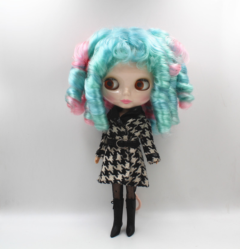 Blyth doll red, blue and green mixed, bangs, curly hair, dark black skin nude dolls, 1/6,7 knuckle body, gift toys. blyth nude 30cm fashion red and black boneca cabelos longos bonecos colecionaveis doll toys for children girls
