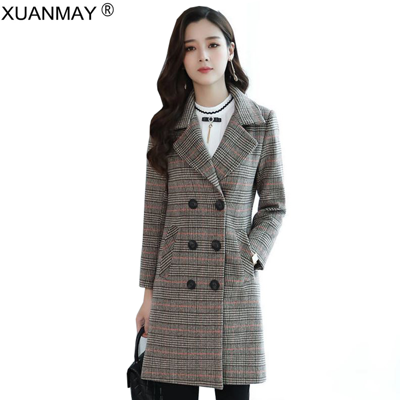 Spring Long style wool jacquard Plaid Cardigan coat Korean version loose Winter ladies Streetwear button cardigan
