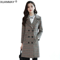 Spring Long style wool jacquard Plaid Cardigan coat Korean version loose Winter ladies Streetwear button cardigan Thick coat