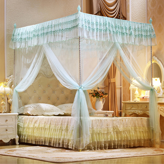 Three door open princess mosquito net double bed curtains - King size canopy bed with curtains ...