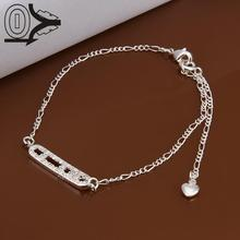 Lose Money!!Wholesale Silver Plated Anklets,Fashion Silver Jewelry,Inlaid Stone Ladder Charms Anklet For Women