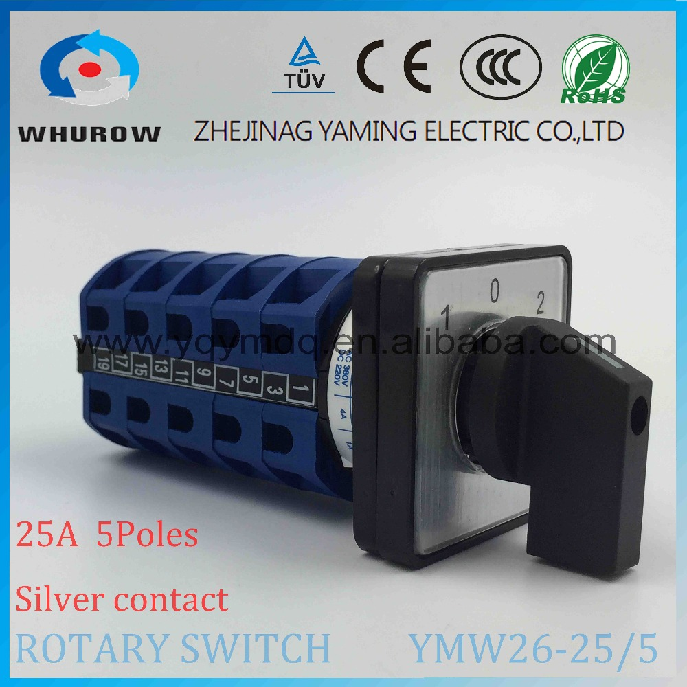 LW26 YMW26-25/5 Rotary switch knob 3 position 102 High quality changeover cam switch 25A 5 section silver contact 690V 5pcs lot high quality 2 pin snap in on off position snap boat button switch 12v 110v 250v t1405 p0 5